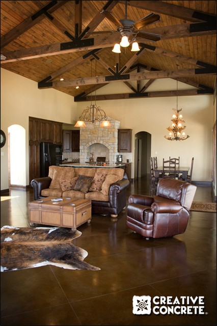 Acid Staining Rustic Living Room Other Metro By Creative Concrete