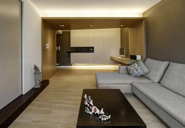 Modern Small Warm Apartment Contemporary Family Room