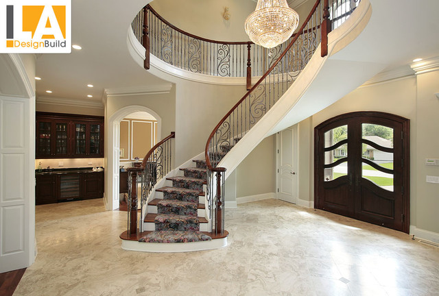 Living Room Mediterranean Staircase Los Angeles By