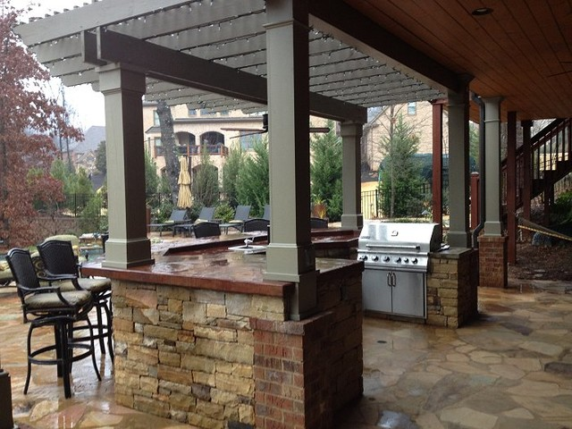Outdoor Kitchen Bar and Grill - Traditional - Patio ... on Outdoor Grill Patio id=32047