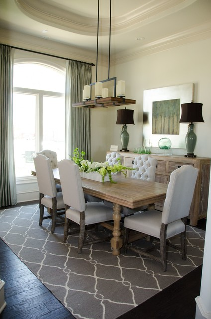 Inspired Drapes From Budget Blinds - Transitional - Dining ... on Farmhouse:-Cra1Rtrksu= Dining Room Curtains  id=79375