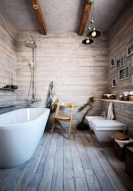 Farmhouse ban inspired bathroom - Rustic - Bathroom ... on Rustic Farmhouse Bathroom Tile  id=88652