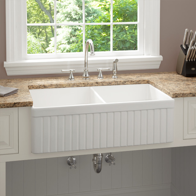 Fireclay Farmhouse Kitchen Sink Fluted Apron Modern Sinks