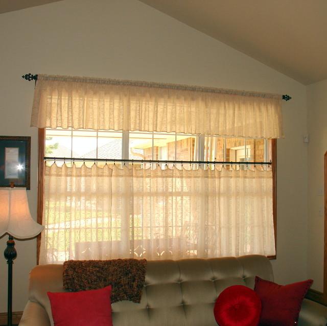 Cafe Curtains - Farmhouse - Living Room - oklahoma city ... on Curtains For Farmhouse Living Room  id=87972