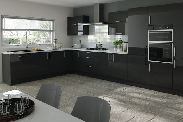 Trends Lewes Black Metallic Kitchen Doors Modern Cabinetry
