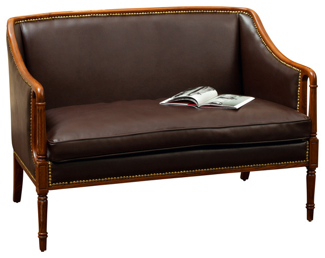 Hairston Brown Leather Wood Frame Loveseat