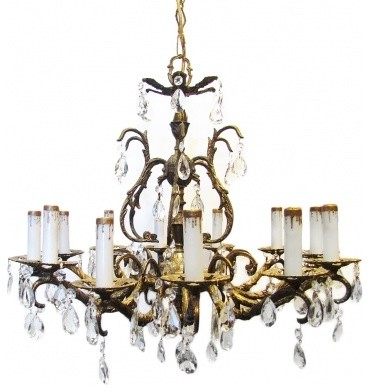Vintage Chandelier Traditional Spanish Brass Crystal Chandeliers