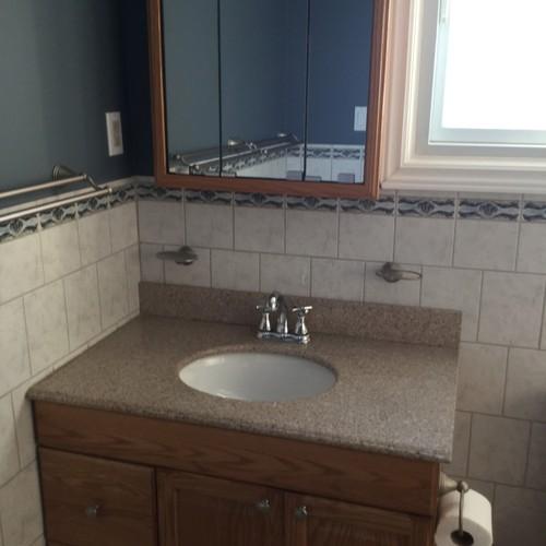 Main bathroom hate the vanity any ideas for small budget? on Main Bathroom Ideas  id=61692