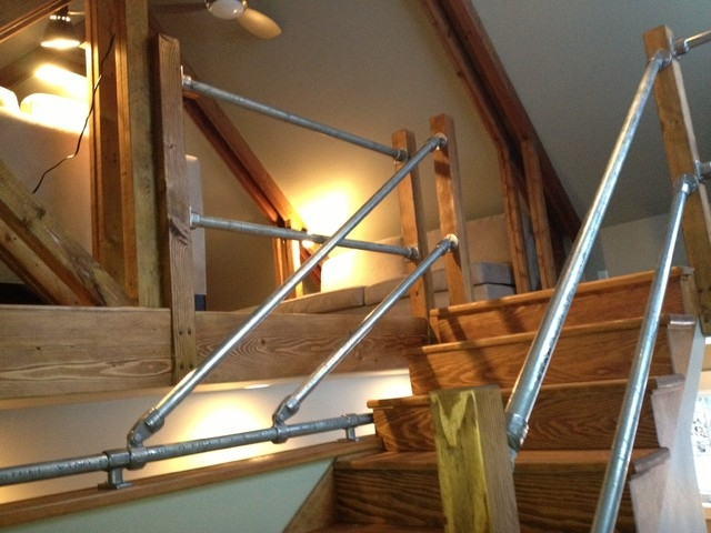 Manhattan Barn Industrial Staircase Other Metro By | Gas Pipe Stair Railing