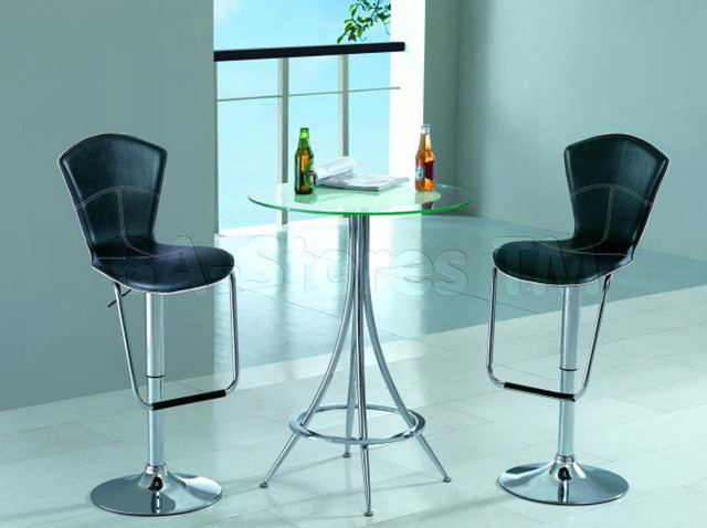 Modern Bar Set (Glass Bar Table And Two Bar Stools