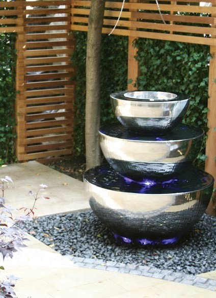Three Tiered Chalice Water Feature - Contemporary - Garden ... on Modern Backyard Water Feature id=11685