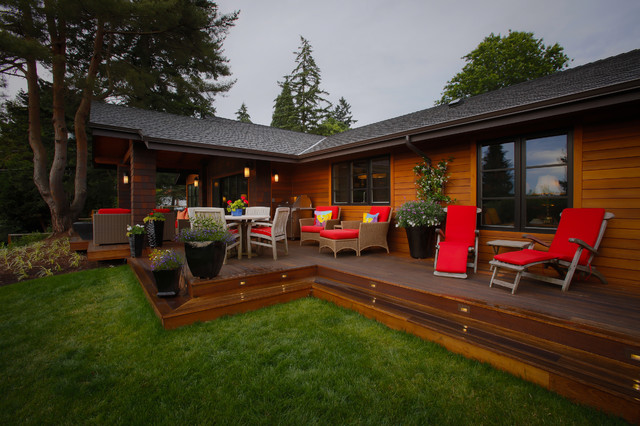 1964 Ranch house transitions to 2014 Modern Mission - Deck ... on Back Deck Ideas For Ranch Style Homes  id=83756