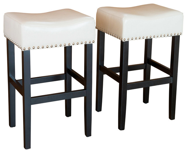 Chantal Leather Stools (Set Of 2), Ivory Counter Height