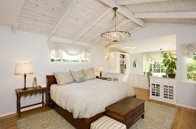 Beach Cottage Chic Bedroom With Custom Built In Office