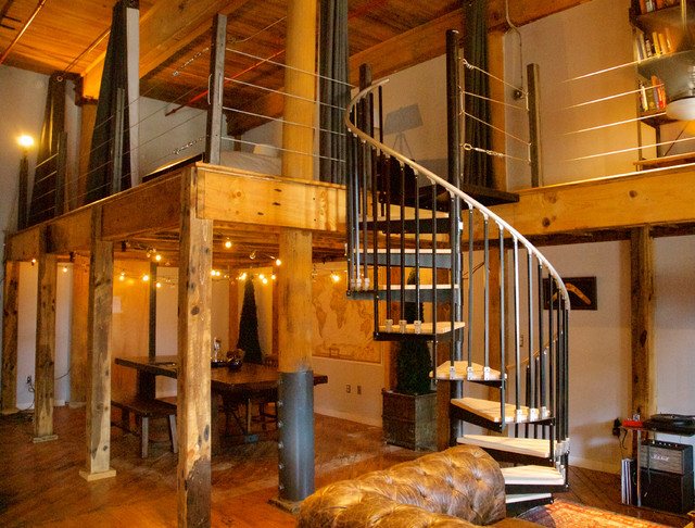 Loft Addition With Spiral Staircase Industrial Living