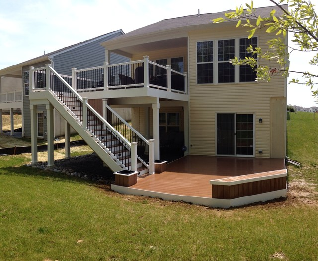 Two level composite deck - Traditional - Deck ... on 2 Level Backyard Ideas id=64769