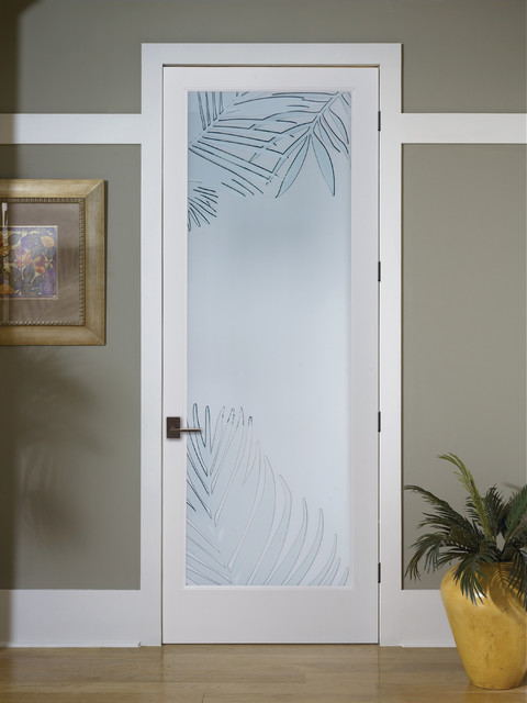 Mazatlan Decorative Glass Interior Door Tropical Hall