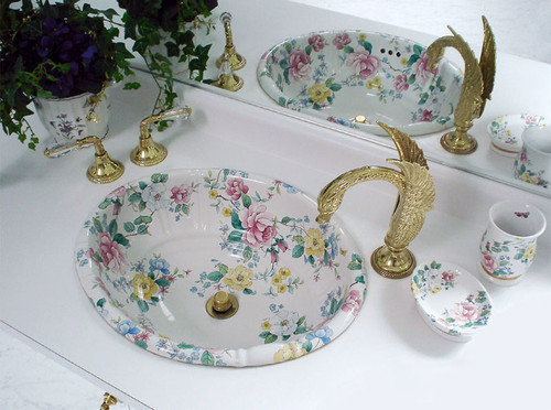 White bathroom with Chintz floral painted basin