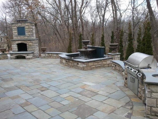 Patio, outdoor grill & fireplace, stairs, fountain ... on Outdoor Grill Patio id=90575