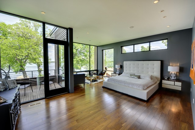 Master Bedroom With Lake View Contemporary Bedroom Minneapolis
