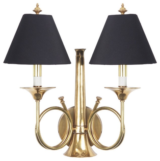 Frederick Cooper Hunting Horn Brass Plug-In Wall Sconce ... on Plugin Wall Sconce Lights id=98232