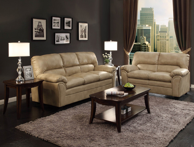 Modern Talon Taupe Leather Sofa Couch Loveseat Tufted Living Room Set Living Room Furniture