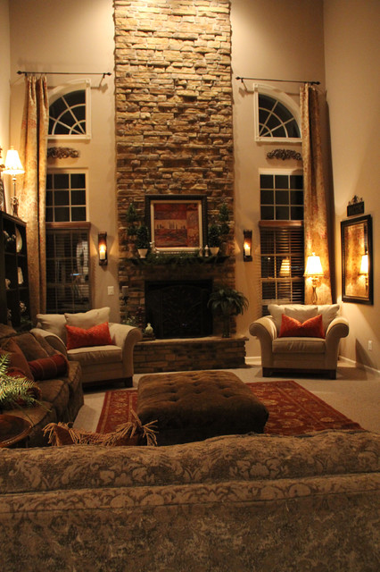 Two Story Family Room Window Treatments