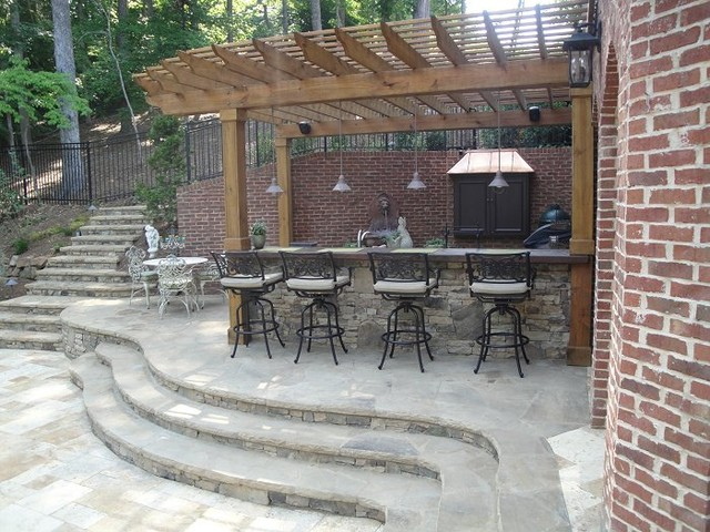 Outdoor Kitchen Bar and Grill - Traditional - Patio ... on Outdoor Grill Patio id=41930