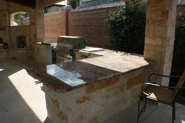 Fort Worth Covered Patio with Pergola Outdoor Kitchen and ... on Covered Outdoor Kitchen With Fireplace id=18474