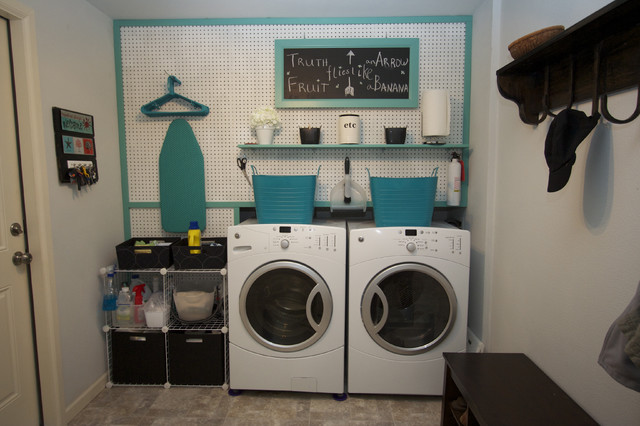 Laundry Room With Peg Board Contemporary Laundry Room