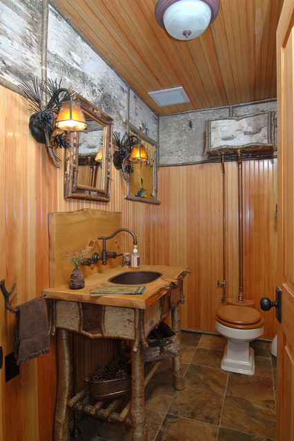 Adirondack Camp Traditional Bathroom Boston By