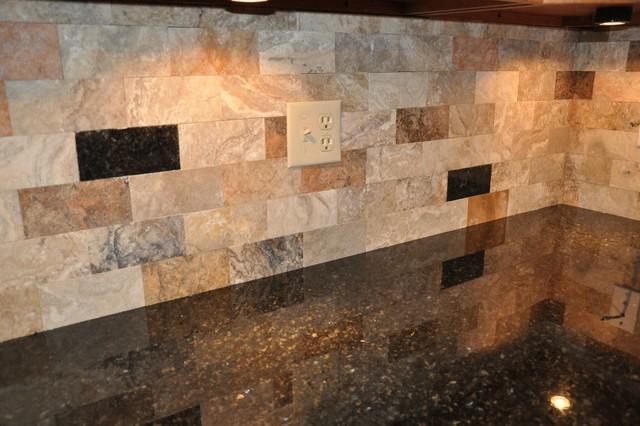 Granite Countertops and Tile Backsplash Ideas - Eclectic ... on Backsplash For Dark Granite  id=78214