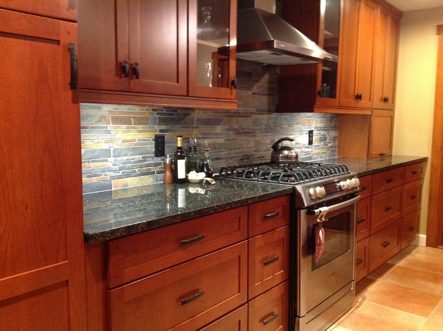 Kitchen remodel. Cherry cabinets, slate backsplash ... on Backsplash Ideas For Black Granite Countertops And Cherry Cabinets  id=76278