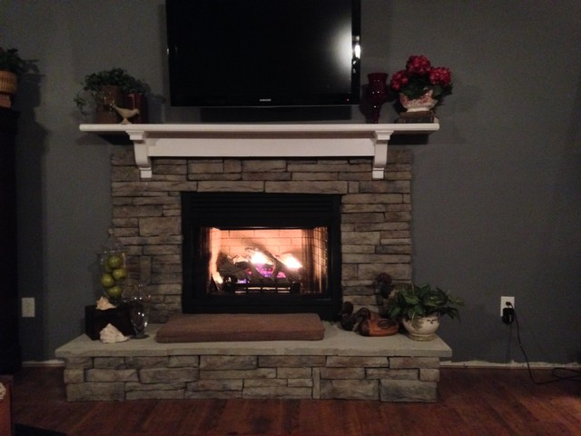 Beautiful European Stack Stone Fireplace In Columbia SC Mediterranean Living Room