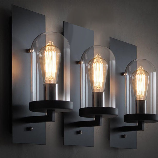 LOFT Industrial Clear Glass Iron Wall Sconce ... on Modern Wall Sconces id=48896