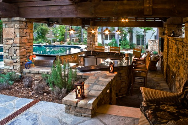 outdoor kitchen with pool and patio Rope Swing Pool - Traditional - Patio - charlotte - by