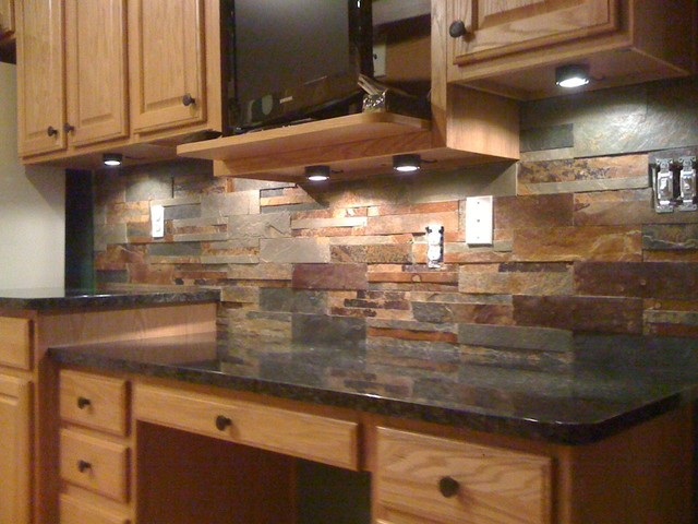 Granite Countertops and Tile Backsplash Ideas - Eclectic ... on Countertops Backsplash Ideas  id=59040