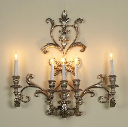 Vintage Italian Silver Five-Light Sconce - Traditional ... on Vintage Wall Sconces id=48515