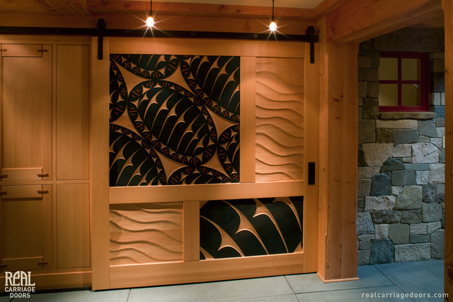 Sliding Barn Door With Art Carvings Craftsman Hall