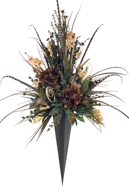 Giant Floral Arrangement in Metal Vase Wall Sconce ... on Wall Sconces With Flowers id=47534