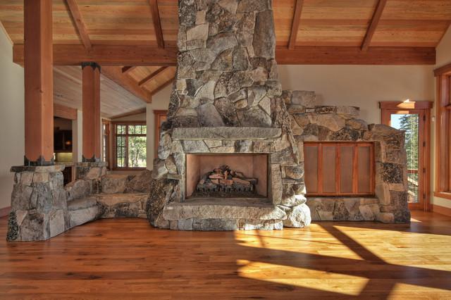 Stone Fireplace Traditional Family Room Sacramento