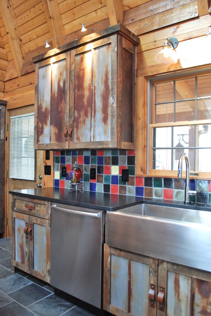Barnwood Kitchen For Log Home Rustic Kitchen Other