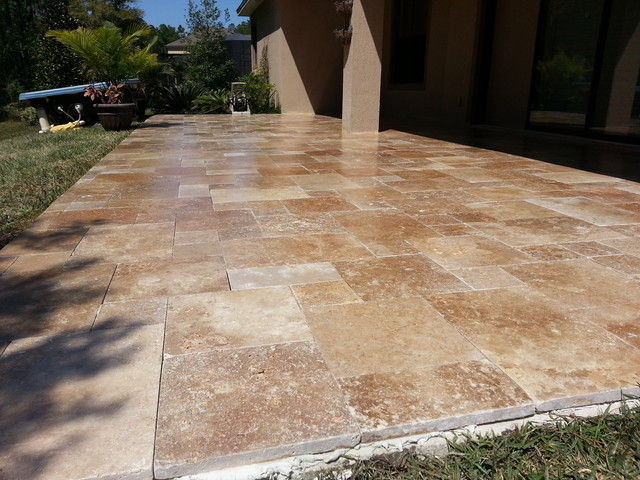 Noce Travertine French Pattern patio remodels on Travertine Patio Ideas id=60060
