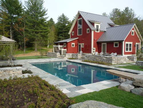 A pool of pools monarch landscape for Vermont farmhouse plans