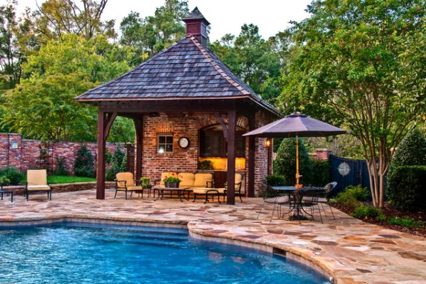 outdoor living patio and pool Outdoor Living: Pool & Cabana - Mediterranean - Patio