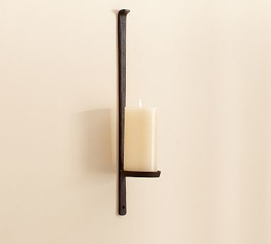Artisanal Wall-Mount Pillar Holder - Traditional ... on Wall Mounted Candle Holder id=85555