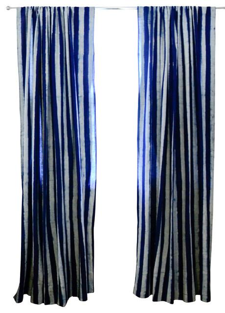 Indigo Stripe Window Curtain 84 Quot Modern Curtains By