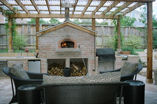 Outdoor Gable Roof Wood Fired Pizza Ovens - Traditional ... on Outdoor Patio With Pizza Oven  id=49337