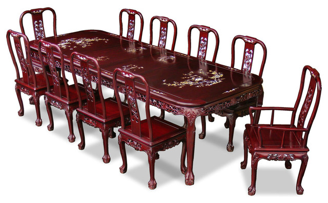 114in Rosewood Queen Ann Grape Motif Dining Table With 10