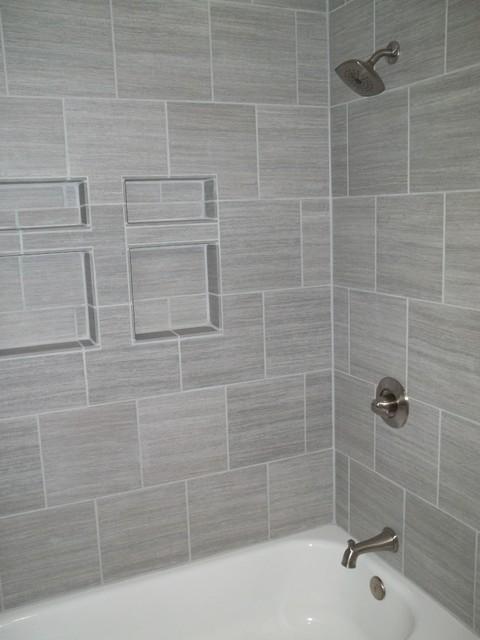 Gray Tile Horizontal Contemporary Bathroom Other